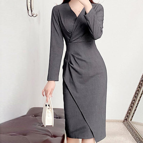 Office solid v-neck cinched waist shift dresses
