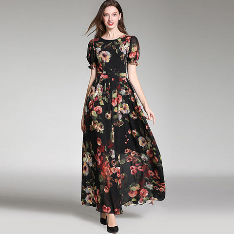 Boho ruffled floral big hem maxi dresses