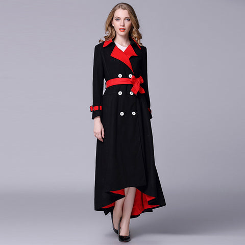Double breasted colorblock asymmetric coats