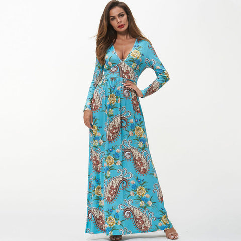 Deep v-neck paisley print gathered waist maxi dresses
