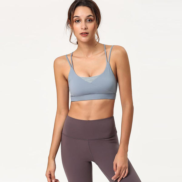 Cross back patchwork sport bras - Fancyever