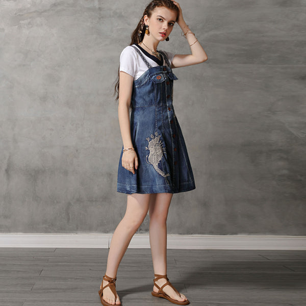 Embroidered mini denim sun dresses - Fancyever