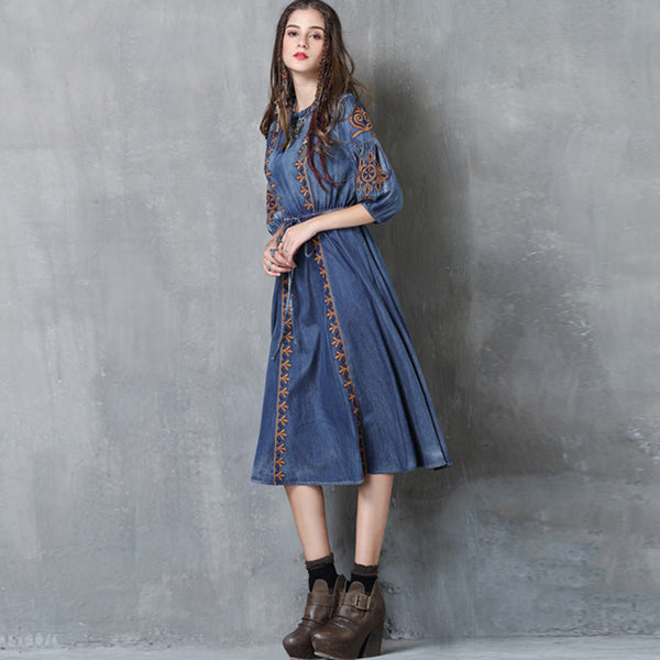 Stylish denim tie-waist embroidery dresses-Fancyever