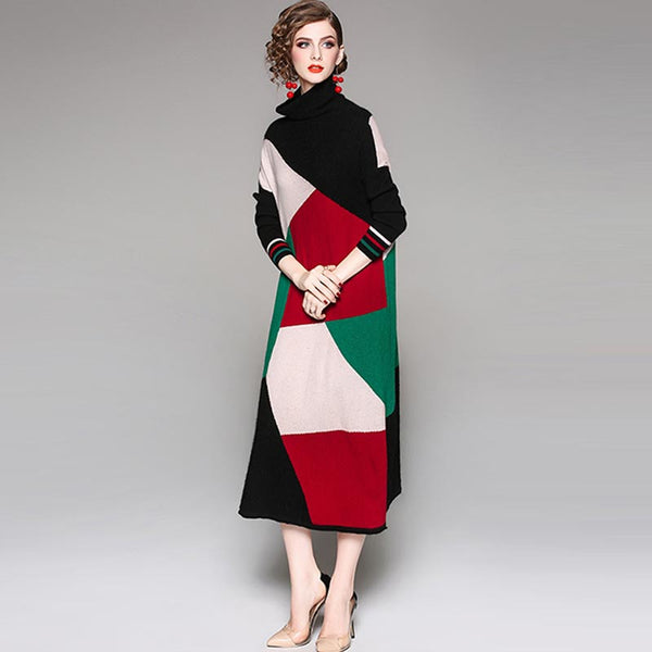 Turtleneck color-blocked knitted midi dresses