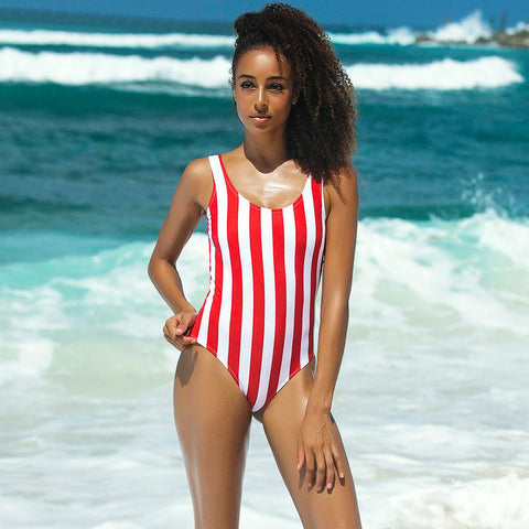 Striped backless one-piece swimwear