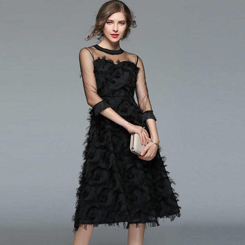 Perspective feather skater dresses-black - Fancyever