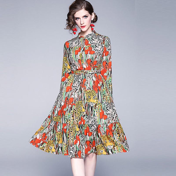 Gathered waist floral dresses