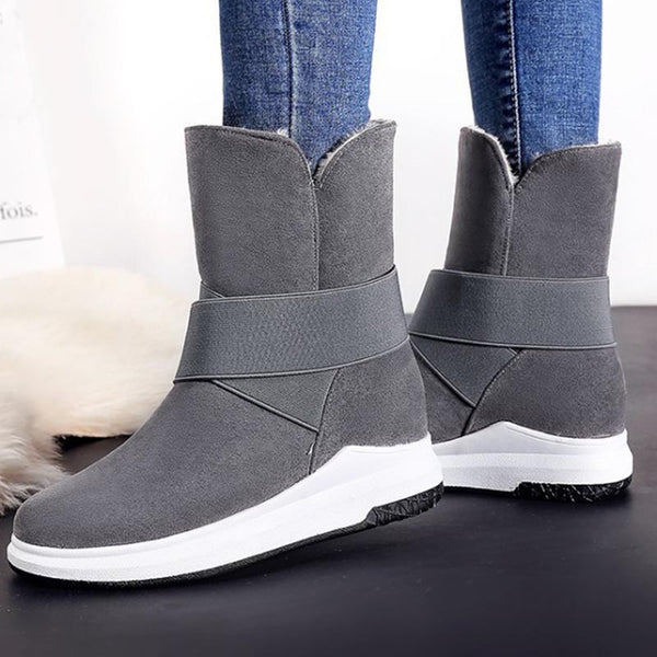 Solid cold-resistant suede fur winter boots