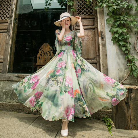 Chiffon print gathered waist maxi dresses