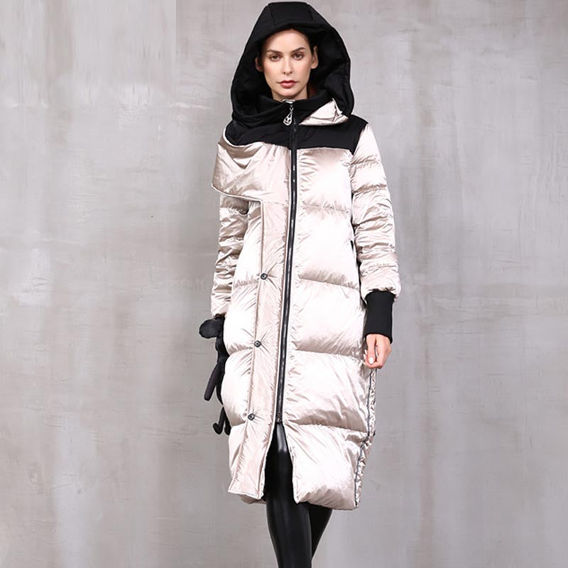Color-blocked high shine hoode down coats