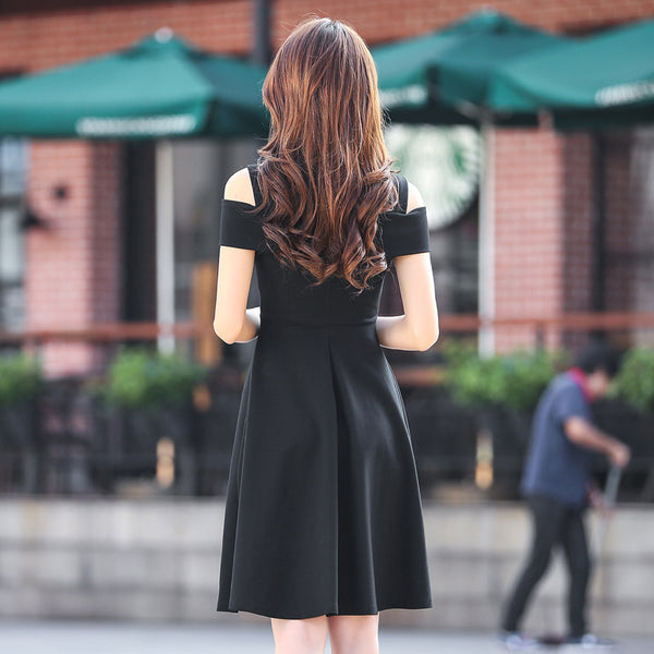 Off-the-shoulder slim a-line dresses-Black - Fancyever