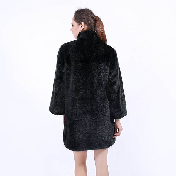 Stand collar buckle fake fur coats
