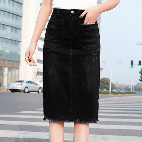 Plus size rough selvedge stretch slit skirts