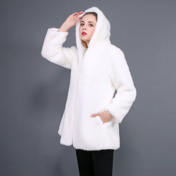 Hooded faux fur buttoned coats - Fancyever