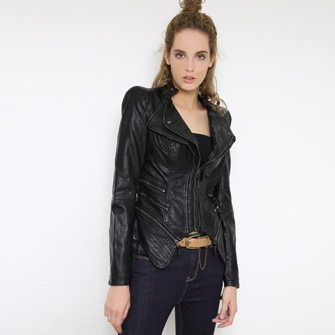 Double collar faux leather jackets