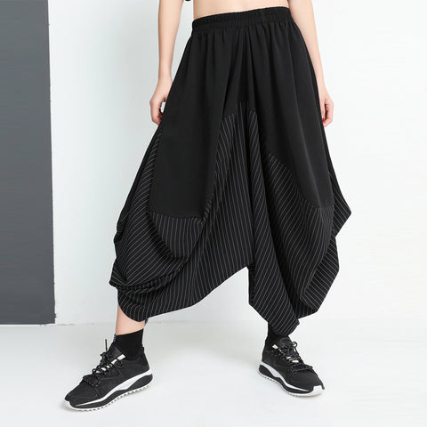 Patchwork striped black harem pants
