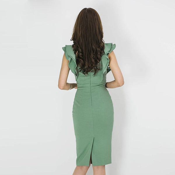 Square neck belted falbala bodycon dresses