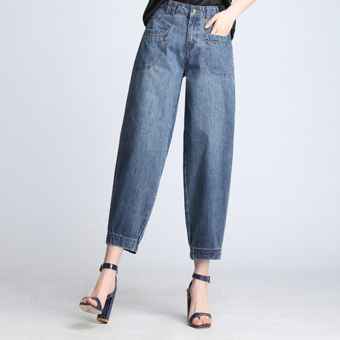 Plus size casual denim tapered pants