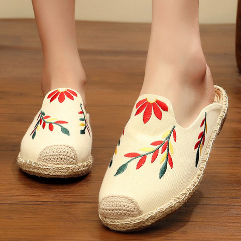 Embroidered hemp rope weaving flat mules