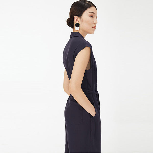 Turn-down collar belt jumpsuits - Fancyever