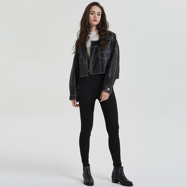 Faux leather top stitched cropped jackets - Fancyever