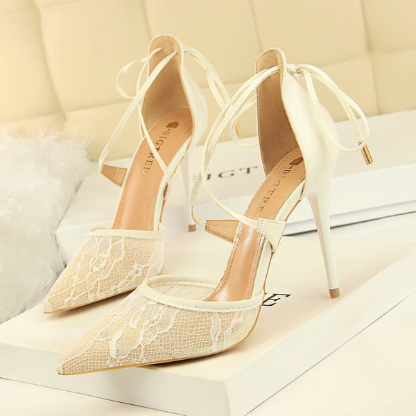 Lace openwork cross straps high heels