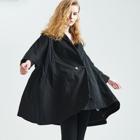Lapel solid loose double breasted ponchos