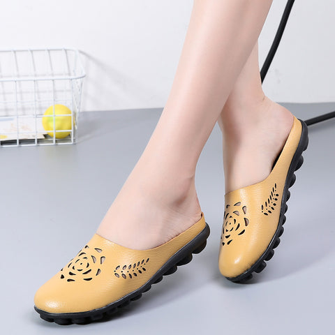 Openwork genuine leather flat slippers