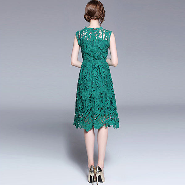 Lace openwork sleeveless dresses - Fancyever