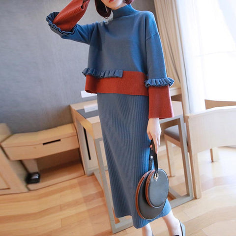 Color-blocked falbala knitted skirt suits