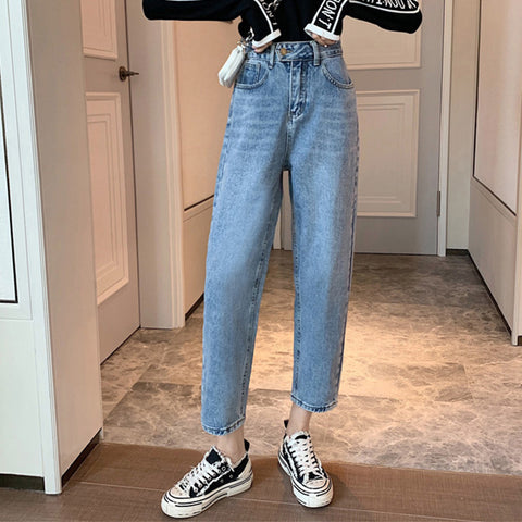High waisted distressed cropped jean pants
