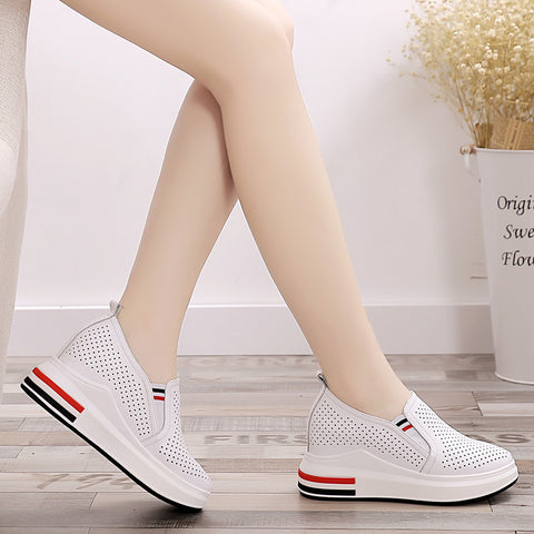 Striped breathable hidden wedge loafers