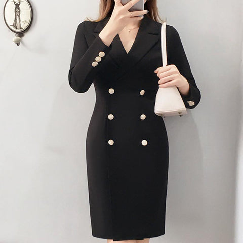 Lapel solid office blazer shift dresses