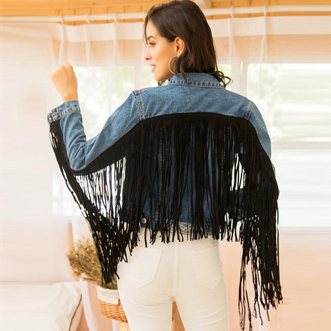 Lapel fringe denim jackets