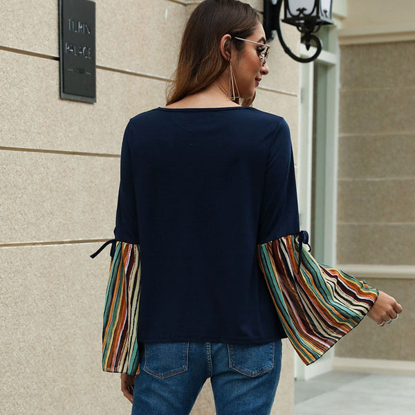 Shine striped flare sleeve blouses