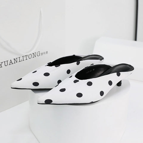 Dot print pointed low fronted  heeled slippers