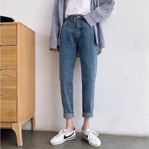 High waisted straight jean pants