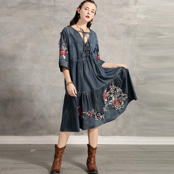 Denim embroidered tied midi dresses