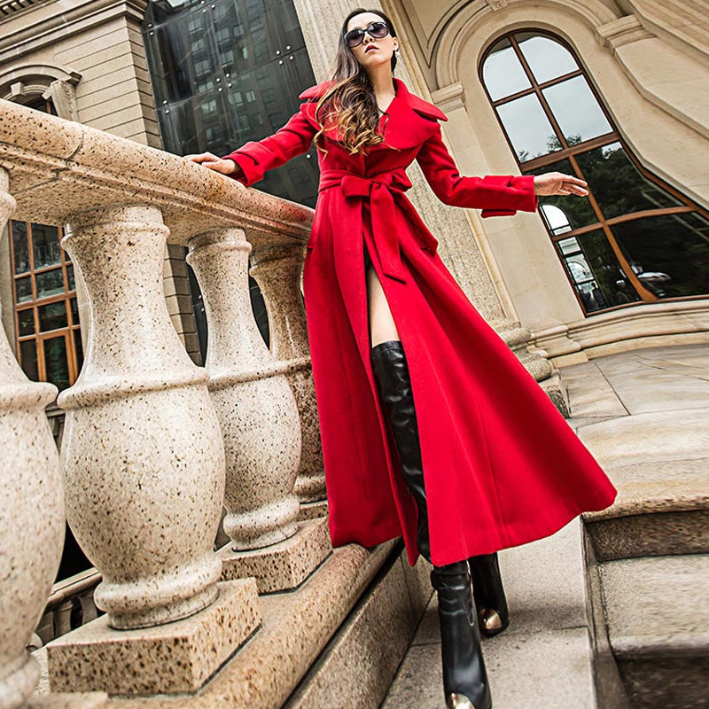 Solid color belted big hem woolen coats