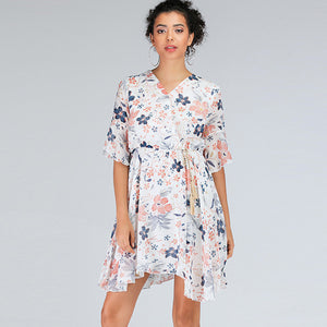 Irregular floral belted chiffon dresses - Fancyever