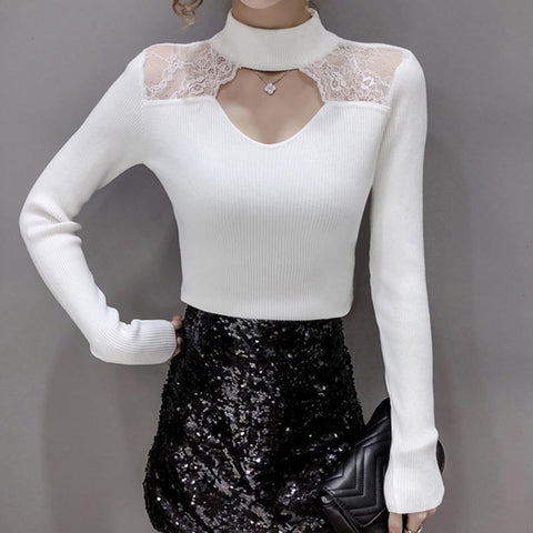 Half-collar patchwork lace openwork knit tops