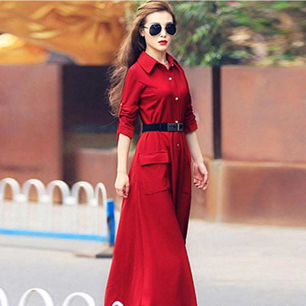 Lapel single-breasted belted maxi dresses