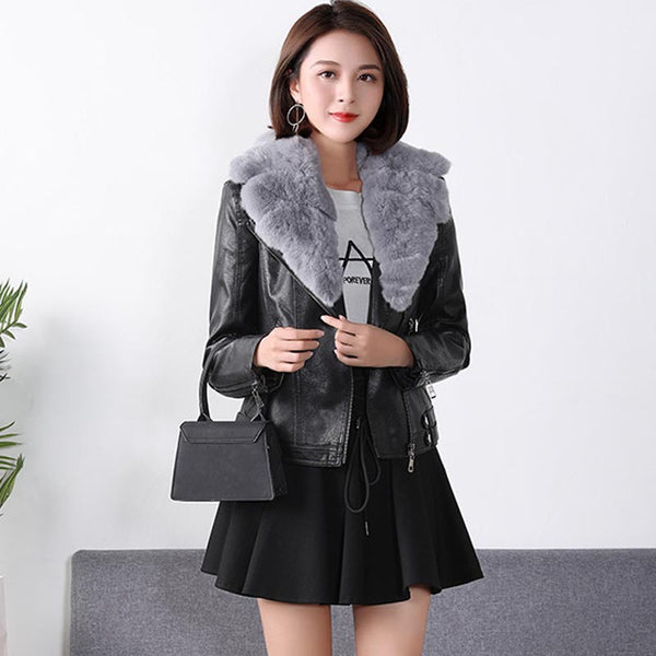 Fur collar quilted leather jackets