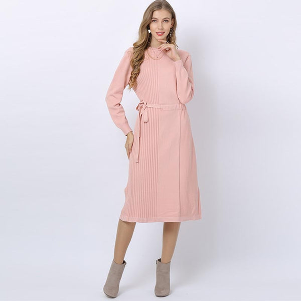 Belted ripped slit sweater dresses - Fancyever