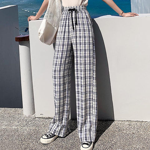 Plus size plaid drawcord wide leg pants