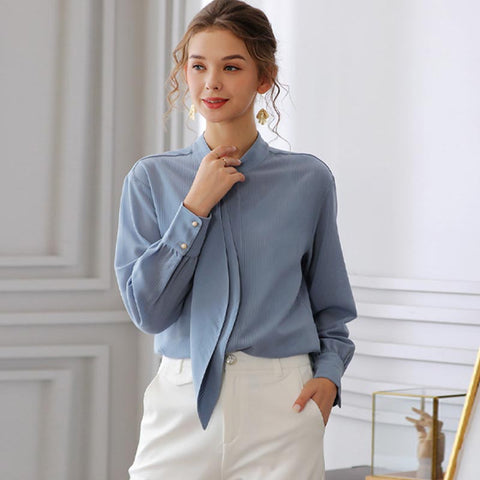 Ribbon mock neck long sleeve blouses
