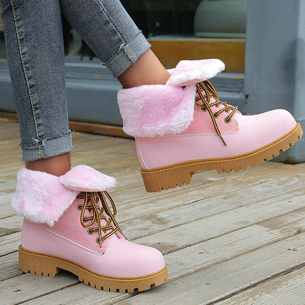 Suede patchwork cold resistant winter boots