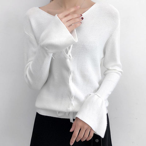 V neck solid cross over lacing flare sleeve knit tops