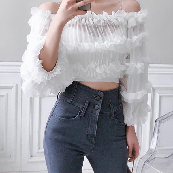 Transparent ruffled off the shoulder blouses
