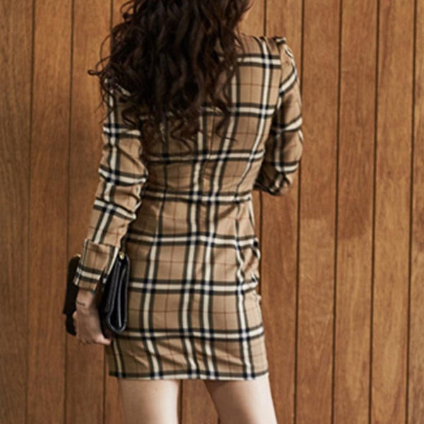 Plaid printed office elegant bodycon dresses